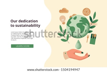 Slide or landing page layout with illustration of the concept of sustainability or environmental protection #1504194947