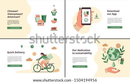 Set of web landing pages for restaurant or food delivery company, including illustrations for delivery, food options, app download and corporate social responsibility (CSR) concepts #1504194956