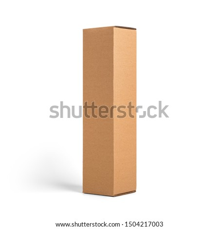 Blank brown tall cardboard Wine paper box isolated on white background. Packaging template mockup collection. Stand-up Half Side view package. Royalty-Free Stock Photo #1504217003