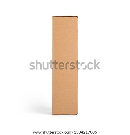 Blank brown tall cardboard Wine paper box isolated on white background. Packaging template mockup collection. Stand-up Front view package. Royalty-Free Stock Photo #1504217006