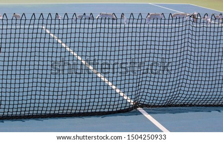 Tennis net and court, sports field with white lines #1504250933