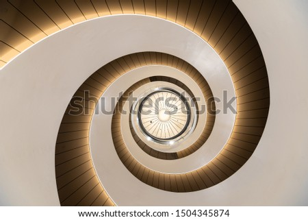 Sydney, Australia - 09 06 2019: Upward view of staircase inside Building 2 at University of Technology Sydney #1504345874