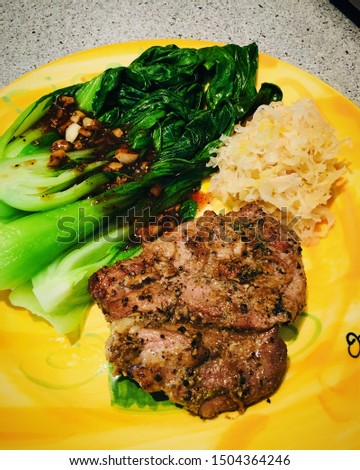 Black pepper chicken with garlic sauce bok choy and sauerkraut, ketogenic meal, ketogenic diet dinner #1504364246