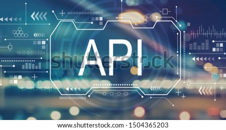 API concept with blurred city abstract lights background