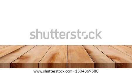 Brown wood table top isolated on white background can be used for display. #1504369580