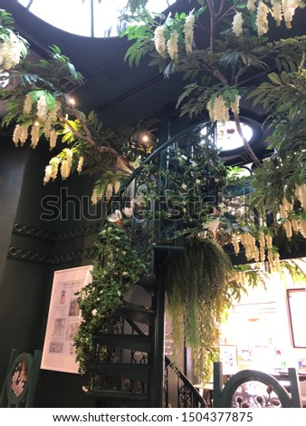 Fancy staircase with lush foliage #1504377875
