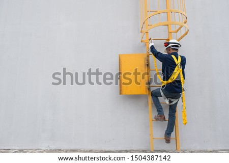 Technician Wear seat belts Safety harness Going up the stairs fixed ladder Working on a high ground In industrial plants prevent Fall from a height Wear protective equipment With space to enter text #1504387142