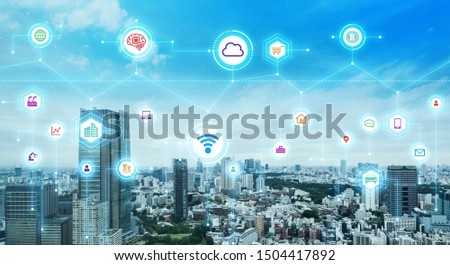 Communication network concept. Smart city. 5G. IoT (Internet of Things) concept.  #1504417892