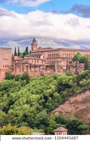 view of the alhambra from the saint nicolas sightseein during a cloudy day granada, spain #1504445687
