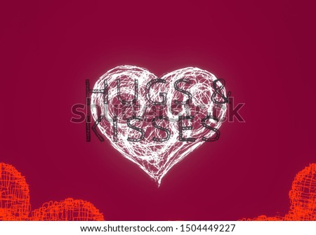 Valentines day card. 2d illustration. Heart with text. #1504449227