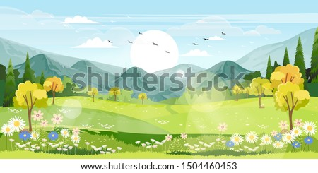 Panorama view of spring village with green meadow on hills with blue sky, Vector cartoon Spring or Summer landscape, Panoramic countryside landscape mountains with wild flowers fields Royalty-Free Stock Photo #1504460453