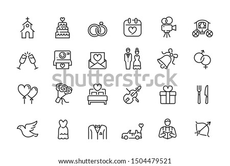 Minimal wedding icon set - Editable stroke illustration Royalty-Free Stock Photo #1504479521