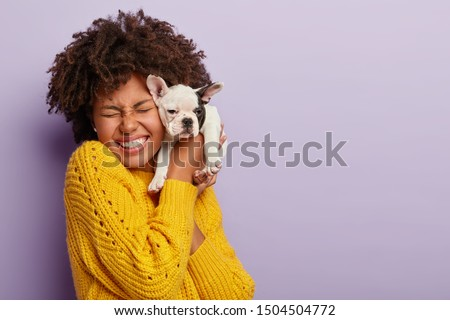 Dog owner and her pet. Happy ethnic curly girl holds cute little puppy near face, expresses love and care to domestic animal, buys dog of favourite breed, laughs, has eyes closed with pleasure #1504504772