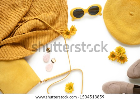 Flat lay, woman fashion clothes set on white background. Yellow collage top view. Style concept  #1504513859