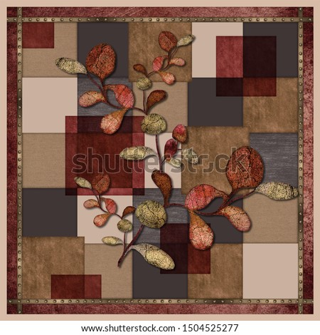 scarf design. scarf pattern with colorful leaves and squares #1504525277