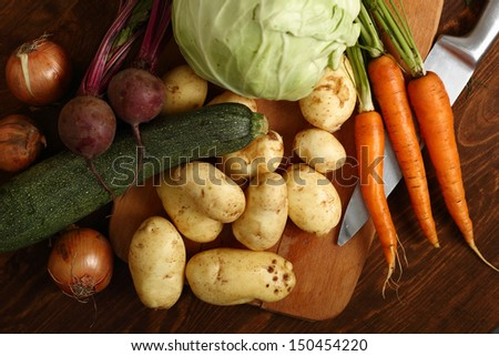 Vegetable Harvest Still Life: Potato, Carrot, Beet, Zucchini, Onion, Cabbage. #150454220