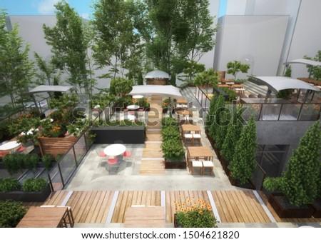 3d rendering- Roof Garden - Restaurant #1504621820