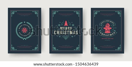 Christmas greeting cards set vintage typographic design, ornate decoration symbols with winter holidays wishes, ornament and flourish frames. Vector illustration.