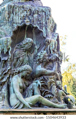 Stockholm, Sweden. Fountain by J. P. Molin, opened in 1866 at Kungstradgarden Park #1504643933