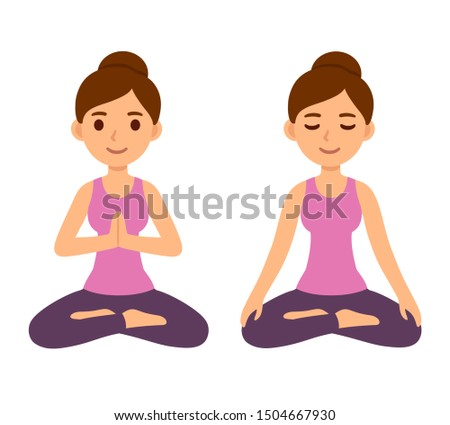 Cute cartoon young woman doing yoga and meditating in lotus pose. Mindfulness and meditation character illustration.