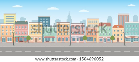 City life illustration with house facades, road and other urban details.  Panoramic view. Flat style, vector illustration. Royalty-Free Stock Photo #1504696052