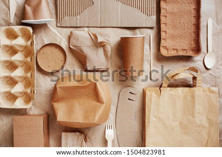 Eco-friendly disposable packaging, waste recycling concept, paper and cardboard waste, rubish sort and plastic free lifestyle  Royalty-Free Stock Photo #1504823981