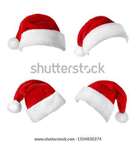 Set of red Santa Claus hats on white background #1504830374