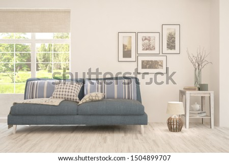 Stylish room in white color with sofa and summer landscape in window. Scandinavian interior design. 3D illustration #1504899707