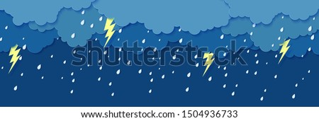 Rain thunder lightning and clouds in the paper cut style. Vector storm weather concept with falling water drops from the cloudy sky and flash. Storm papercut background horizontal banner.