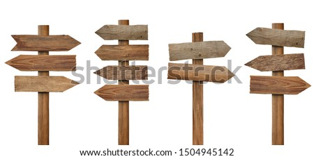 collection of various wooden sign on white background #1504945142