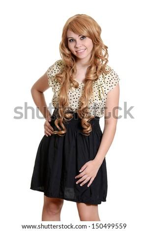 teen girl wearing blonde wig #150499559