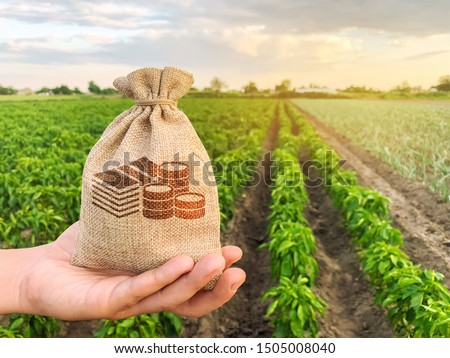 The farmer holds a money bag on the background of plantations. Lending and subsidizing farmers. Grants and support. Profit from agribusiness. Land value and rent. Taxes taxation. Agricultural startups #1505008040