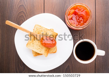 Breakfast with tea, toast and apricot jam #150503729