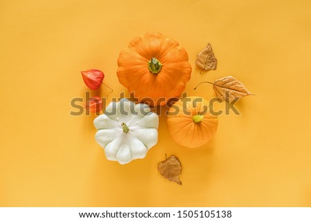 Autumn composition. Fresh three pattypan squash, pumpkin and autumn leaves herbarium on yellow background with copy space. Top view Flat lay Template for your design, invitation, greeting card. #1505105138