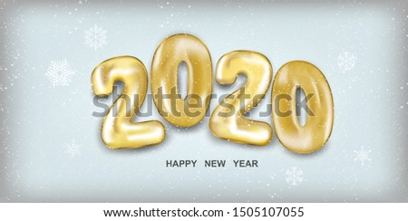 2020 Happy New Year. Holiday vector illustration. Golden numbers balls in 3d realistic style with snow. Festive banner design. Happy New 2020 Year poster. Vector illustration #1505107055