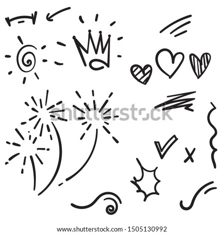Vector hand drawn collection of design element doodle #1505130992