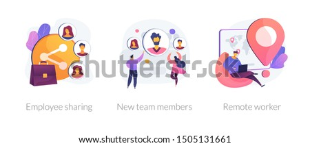 Modern business icons set. Corporate communication, workers recruitment, distance job, Employee sharing, new team members, remote worker metaphors. Vector isolated concept metaphor illustrations Royalty-Free Stock Photo #1505131661