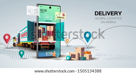 Online delivery service concept, online order tracking,Delivery home and office. City logistics. Warehouse, truck, forklift, courier, delivery man, on mobile. Vector illustration #1505134388