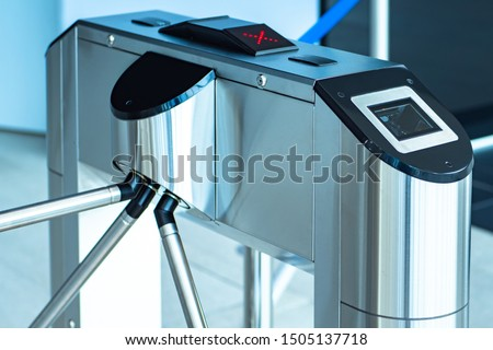 Turnstile. Pass with a magnetic card. Barrier for people. Electronic cards for passage. Checkpoint systems. Refused to enter the building. Access is denied.Access control and management system.Secured #1505137718
