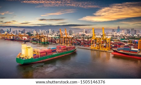 Aerial view of cargo ship, cargo container in warehouse harbor at thailand, container ship in import export and business logistic with sunset #1505146376