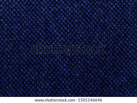 Elegant ultramarine and blue cashmere background texture. Coat close-up. Indigo Expensive men's suit fabric. Virgin wool extra fine. High resolution #1505146646