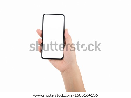 Woman hand holding the black smartphone #1505164136