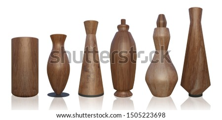shape of wood jars bottles on white background, kitchen object concept on 3d rendering and clipping path included. #1505223698