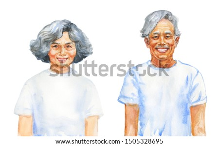 Painting smiling asian aged man and woman. Hand drawn realistic family portrait. Watercolor illustration on white background