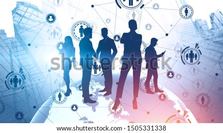 Silhouettes of business people in city standing on planet. Double exposure of HR icons. Concept of recruitment and international partnership. Toned image. Elements of this image furnished by NASA #1505331338