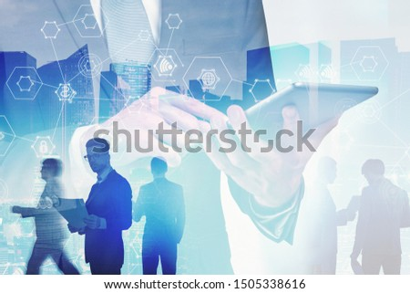 Businessman using tablet computer with blurry business people in background, double exposure of cityscape and immersive hi tech interface. Concept of wireless connection and smart city. Toned image #1505338616