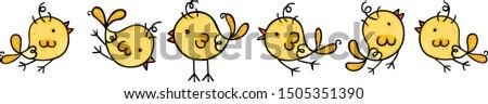 Six yellow birds running and flying #1505351390