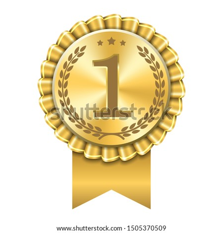 Award ribbon gold icon number first. Design winner golden medal 1 prize. Symbol best trophy, 1st success champion, one sport competition honor, achievement leadership, victory illustration #1505370509