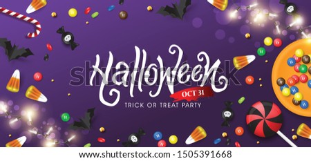Happy Halloween banners party invitation background.Vector illustration . #1505391668