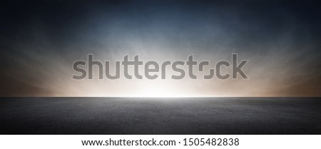Black Concrete Floor with Dramatic Sky Horizon Presentation Background Scene #1505482838